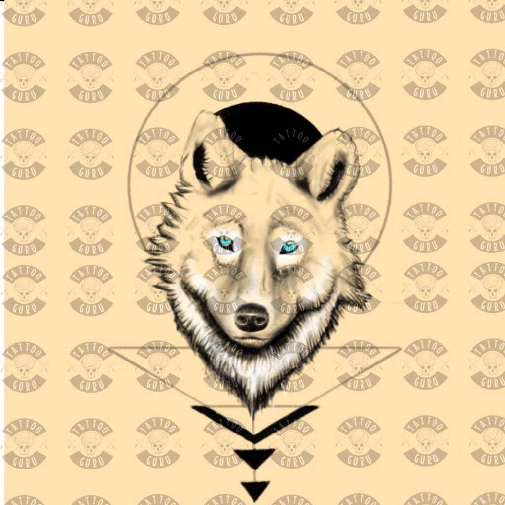 Bild von einem Wolf Tattoo im modernen Stil.